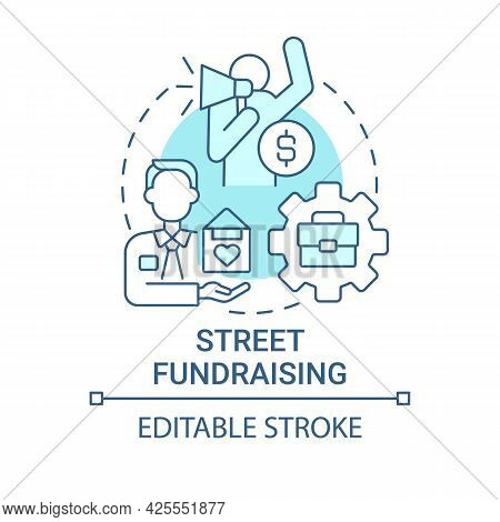 Street Fundraising Concept Icon. Charity Event Abstract Idea Thin Line Illustration. Door-to-door Fu
