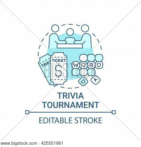 Trivia Tournament Fundraiser Concept Icon. Fundraising Abstract Idea Thin Line Illustration. Testing