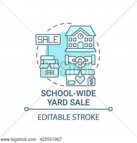 School-wide Yard Sale Concept Icon. Fundraising Appeal Abstract Idea Thin Line Illustration. Organiz
