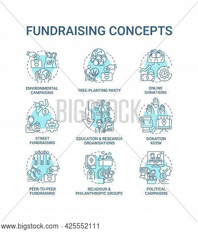 Fundraising Concept Icons Set. Gathering Financial Support Idea Thin Line Color Illustrations. Relig