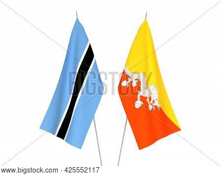 National Fabric Flags Of Botswana And Kingdom Of Bhutan Isolated On White Background. 3d Rendering I