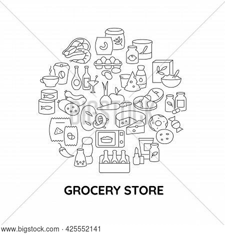Convenience Store Food Abstract Linear Concept Layout With Headline. Grocery Shop Minimalistic Idea.