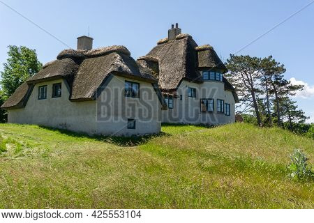 Hundested, Denmark - 15 June, 2021: View Of The Home Of Artic Explorer Knud Rasmussen And Shoreline