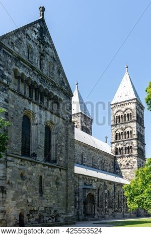 Lund, Sweden - 18 June, 2021: View Of The Lund Cathedral In Southern Sweden