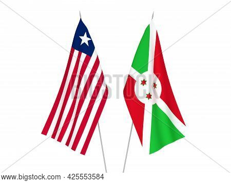 National Fabric Flags Of Burundi And Liberia Isolated On White Background. 3d Rendering Illustration