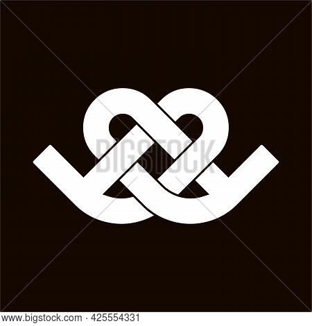Initial Letter Bd Logo Template With Geometric Love Or Heart Line Art Illustration In Flat Design Mo