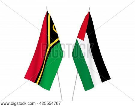 National Fabric Flags Of Palestine And Republic Of Vanuatu Isolated On White Background. 3d Renderin