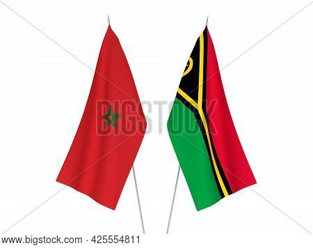 National Fabric Flags Of Morocco And Republic Of Vanuatu Isolated On White Background. 3d Rendering