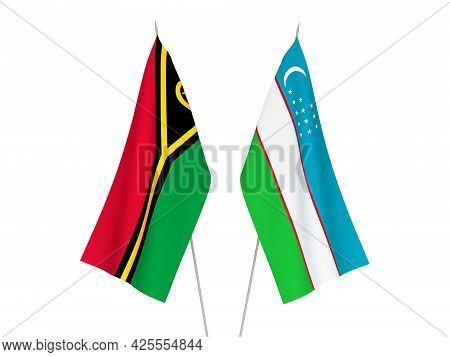 National Fabric Flags Of Uzbekistan And Republic Of Vanuatu Isolated On White Background. 3d Renderi