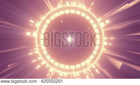 Vivid Neon Circle In Tunnel 4k Uhd 3d Illustration