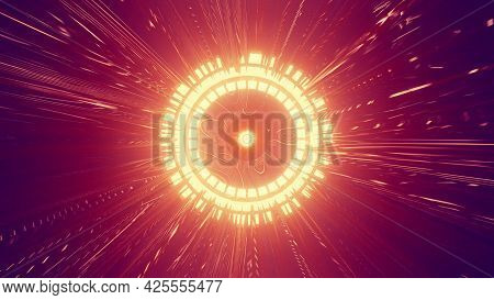 Round Ornament With Neon Rays 4k Uhd 3d Illustration