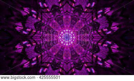 4k Uhd 3d Illustration Of Kaleidoscopic Ornament Of Purple Color