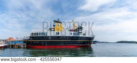 Svendborg, Denmark - 10 June, 2021: Ferry Docking At The Ferry Terminal In Svendborg Before Leaving