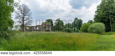 Alvastra, Sweden - 20 June, 2021: Panorama View Of The Alvastra Abbey Ruins In Southern Sweden