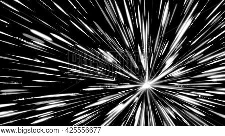 Travelling Through Black Space, White Starfield, Seamless Loop. Animation. Monochrome Pattern With S