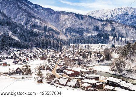Snow Scenery Of Ogimachi Village At Shirakawa, Gifu In Japan