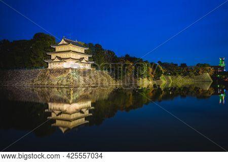 Northwest Turret And Moat Of Nagoya Castle In Nagoya, Japan At Night