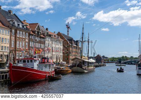 Copenhagen, Denmark - 13 June, 2021: View Of The Historic Nyhavn Quarter In Downtown Copenhagen With
