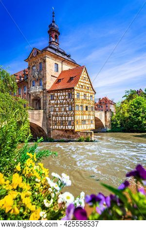 Bamberg, Germany. Amazing View Of Historic City Center In Bavaria. Half-timbered Town Hall In The Mi
