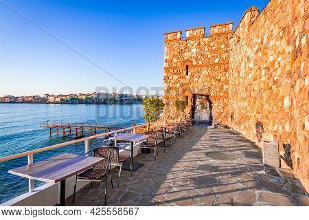 Sozopol, Bulgaria. Ancient Walls Of Historic Apollonia On Black Sea Seaside, Burgas.