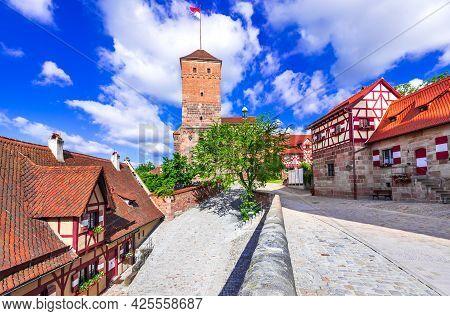 Nuremberg, Germany. View Of Kaiserburg And Heathen Tower In Nuremberg Old Town In Franconia, Bavaria