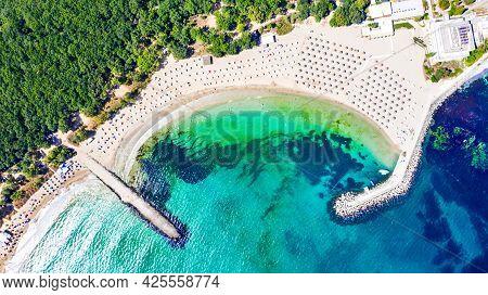 Perla Beach, Primorsko. Amazing Turquoise Water Beach In Bulgaria, Black Sea Coastline.