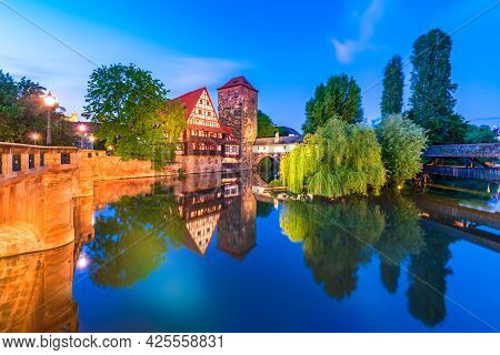 Nuremberg, Germany. Colourful And Picturesque View Of The Half-timbered Old Houses On The Banks Of T