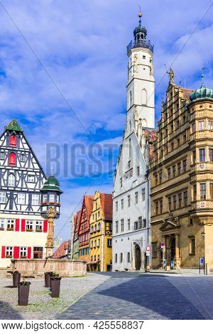 Rothenburg Ob Der Tauber, Germany - Cobbled Street And Architecture Of Historic Town Of Rothenburg,