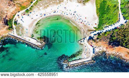 Bulgaria, Bolata Beach. Amazing Turquoise Wild Beach On Cape Kaliakra, Black Sea.
