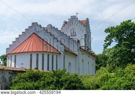 Hoor, Sweden - 19 June, 2021: The Old Church At Bosjokloster Nunnery In Southern Sweden