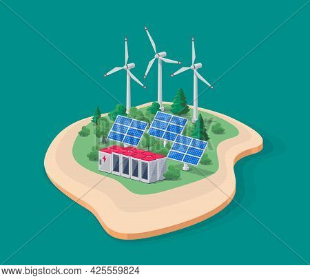 Vector Illustration Of Photovoltaic Solar Panels, Wind Turbines And Rechargeable Lithium-ion Battery
