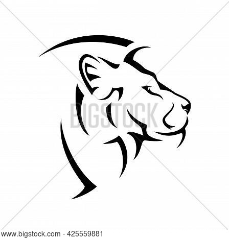 Wild African Lion Side View Portrait - Big Cat Profile Head Black And White Vector Design