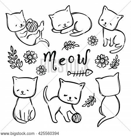 Coloring Page Kitty Cat Cute Kitten Among Flowers And Other Plants Handwritten Text Monochrome Greet