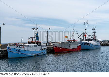 Spodsbjerg, Denmark - 10 June, 2021: Fishing Boats Moored At The Docks Of The Spodsbjerg Industrial