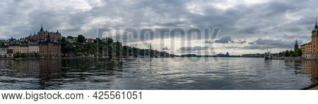 Stockholm, Sweden - 23 June, 2021: Panorama Cityscape Of Stockholm On An Overcast Summer Day