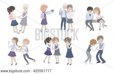 Children School Behavior Set. Isolated Editable Vector Illustration