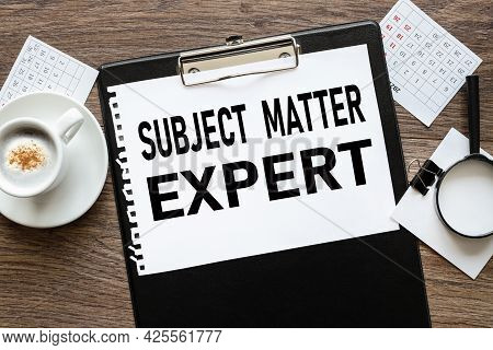 Sme Subject Matter Expert. Text On Wood Table, On White Paper