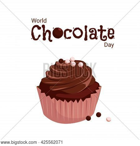 A Banner With A Cupcake For The World Chocolate Day. Vector Cartoon Illustration With Chocolate Muff