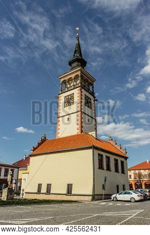 Dobruska,czech Republic - April 27, 2021. Center Of The Town In Neo-gothic Style.known Mainly Becaus