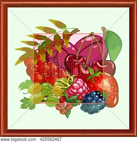 Berries And Fruits In A Wooden Frame.colored Vector Illustration With Berries And Fruits In A Wooden