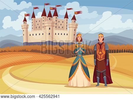 Medieval King And Queen On Fairytale Medieval Castle Background. Cartoon Middle Ages Historic Period