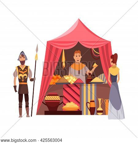 Cartoon Medieval Fair. Middle Ages Or Fairy Tale Fair Market With Characters Standing In Costumes. S