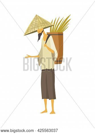 Asian Farmer In Straw Conical Hat. Asia Rural Culture. Chinese Farmer Carrying Yields Rice Harvest O