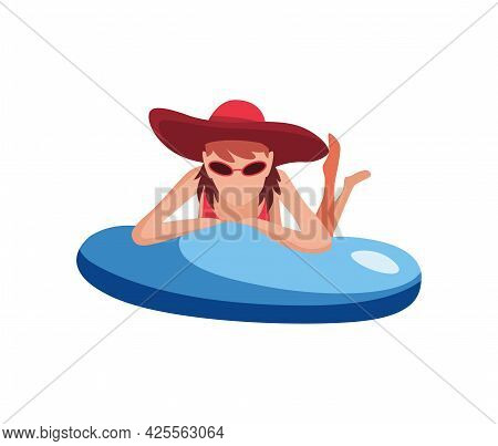 Woman Float On Air Mattress. Fun Female Character With Hat. Young Lady Swimming On Inflatable Ring.