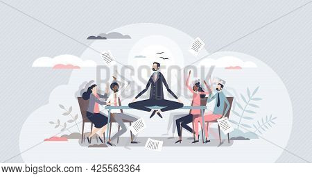 Conflict Management And Make Compromise And Mediation Tiny Person Concept. Fighting, Arguing And Con