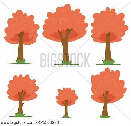 Set Of Trees In Cartoon Style Isolated