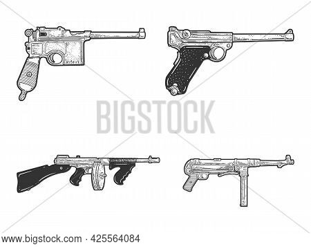 Weapons Pistols And Submachine Guns Historical Set Line Art Sketch Engraving Vector Illustration. T-
