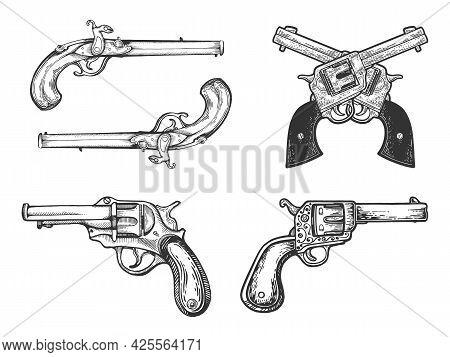Weapons Vintage Pistols Revolvers Historical Set Line Art Sketch Engraving Vector Illustration. T-sh