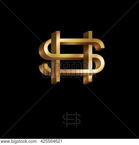H And S Letters. Monogram Consist Of Volumetric Letters, Crossed, Impossible Figure. Monogram For Bu