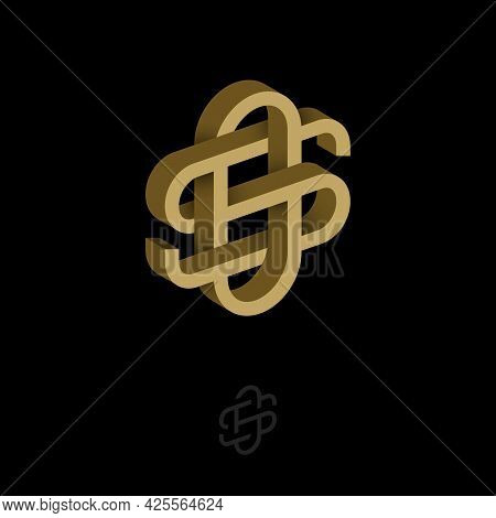 O And S Letters. Monogram Consist Of Volumetric Letters, Crossed, Impossible Figure. Monogram For Bu